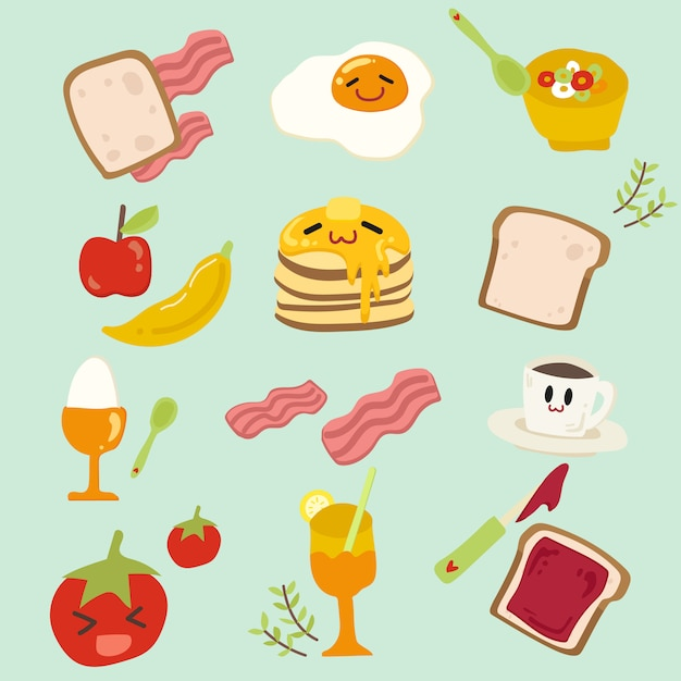 Set of cute breakfast.hand draw illustration. Premium Vector