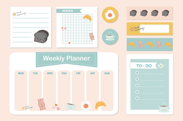 Set of cute breakfast note papers ,sticker and sticky tape. Premium Vector