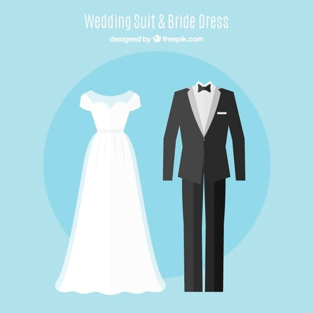 Set of cute brid dress and elegant wedding suit in flat design Free Vector