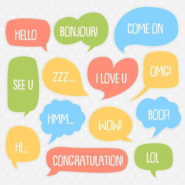 Set of cute  bubble speech vector template Premium Vector