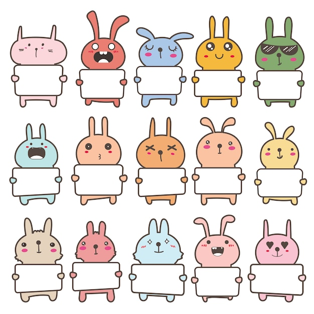 Set of cute bunny holding a billboard design. illustration. Premium Vector
