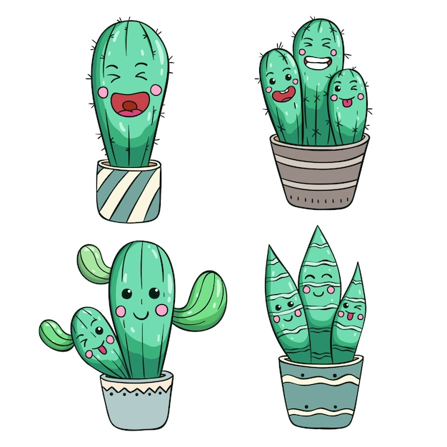 Set of cute cactus with kawaii face or expression Premium Vector