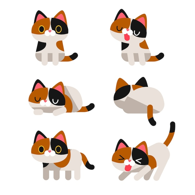 Calico Cat With Interesting Gps >> Set Of Cute Calico Cat Characters In Different Action Poses Isolated