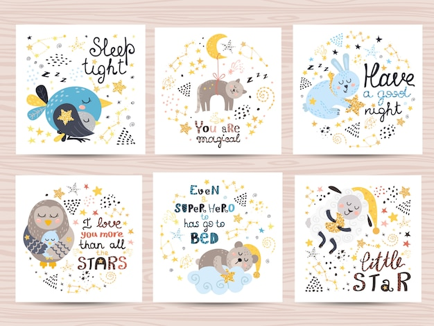 Set of cute cards for babies Premium Vector