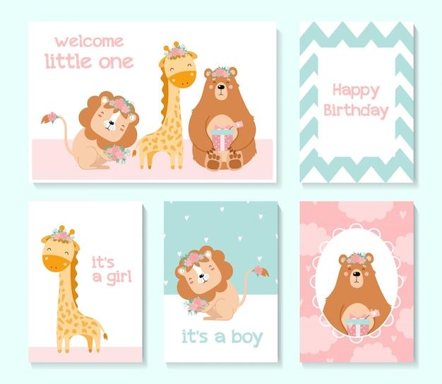 Set of cute cards. baby shower. bear, lion, giraffe Premium Vector