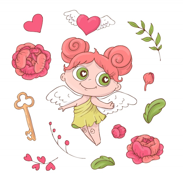 Set of cute cartoon angels for valentine s day Premium Vector