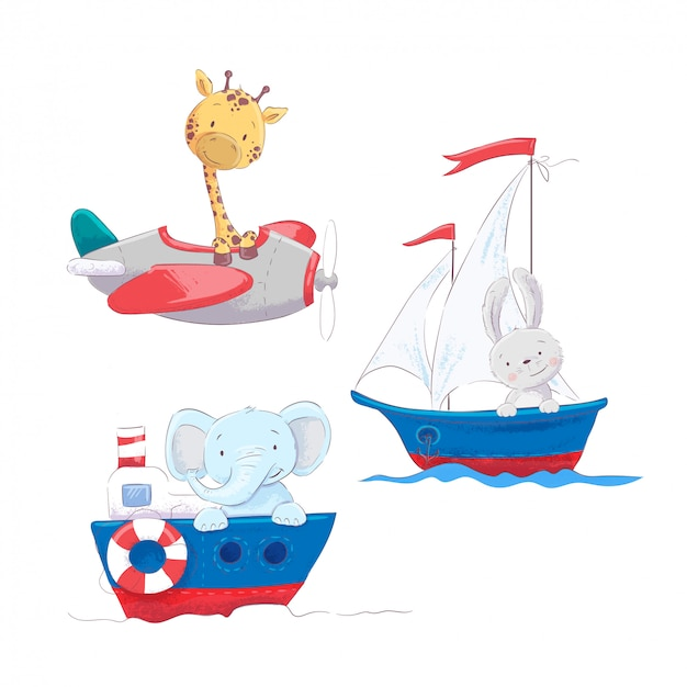 Set of cute cartoon animals giraffe hare and elephant on a sea and air transport Premium Vector
