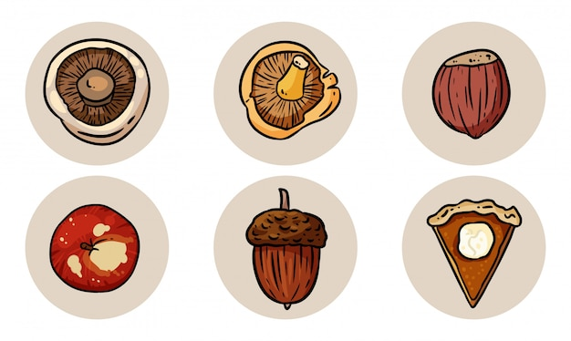 Set of cute cartoon autumn elements. Premium Vector