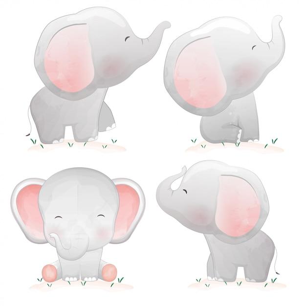 Set of cute cartoon baby elephants. Premium Vector