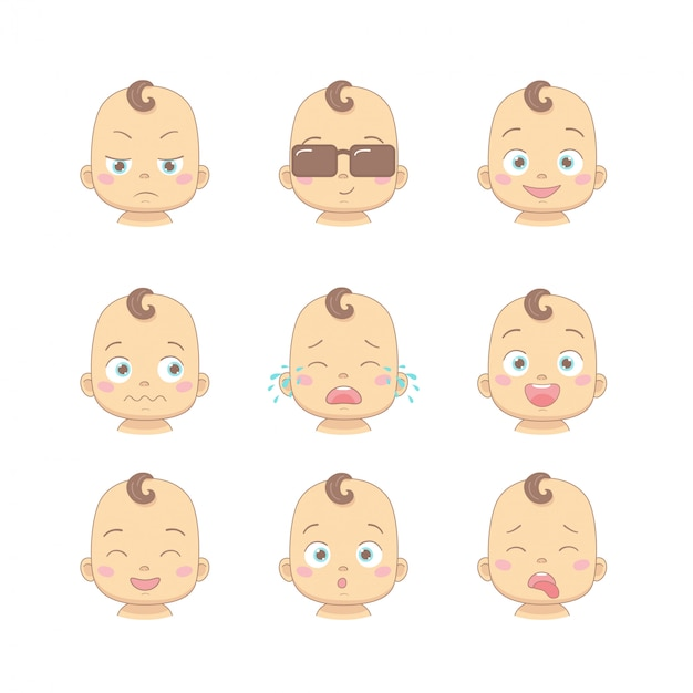 Set of cute cartoon baby or toddler with different funny emotions in flat style Premium Vector