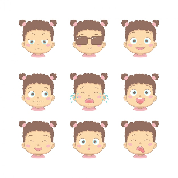 Set of cute cartoon baby with different funny emotions in flat design cartoon character. cute children with dissatisfied, business, smiling, crying, laughing, smiling and disgusted face. Premium Vector