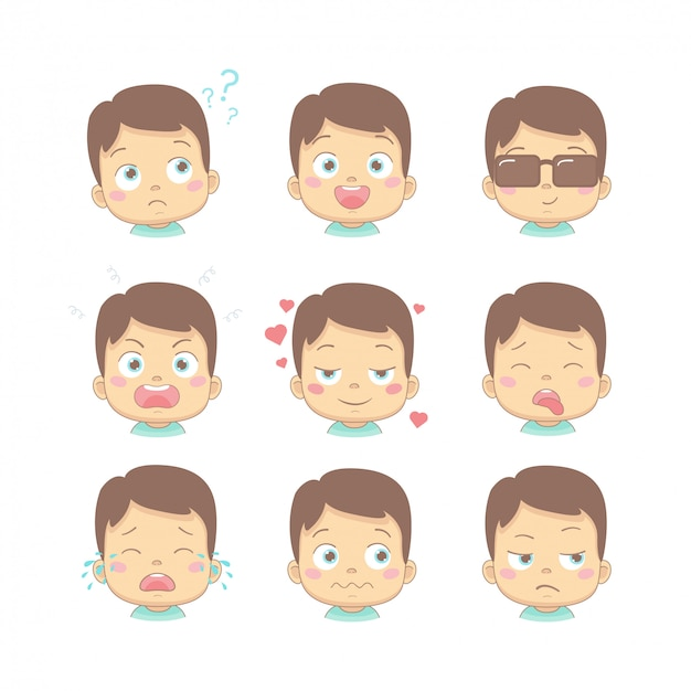 Set of cute cartoon baby with different funny emotions in flat design cartoon character. cute children with thinking, joy, business, anger, in love, sick, crying and disgusted face. Premium Vector