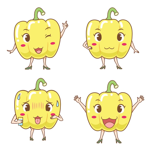 Set of cute cartoon bell peppers in different poses. Premium Vector