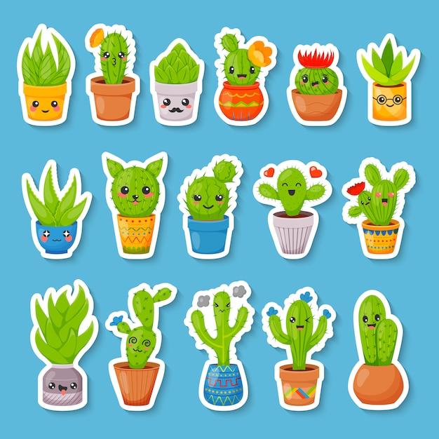Set of cute cartoon cactus and succulents stickers Premium Vector