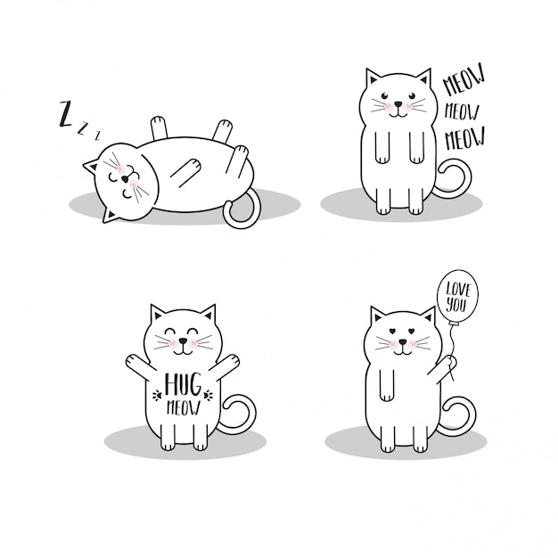 Set Of Cute Cartoon Cats Premium Vector