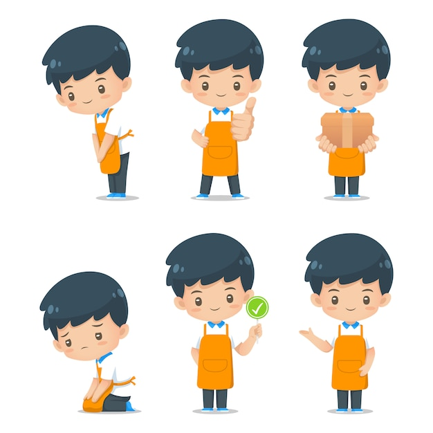 Set of cute cartoon character assistance mascot wear apron illustration Premium Vector