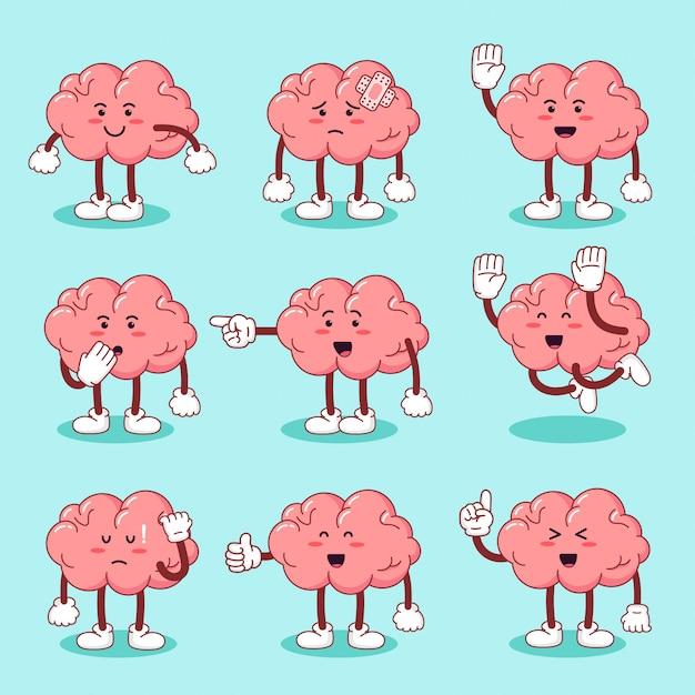 フラットスタイルでかわいい漫画のキャラクターの脳を設定します Premiumベクター