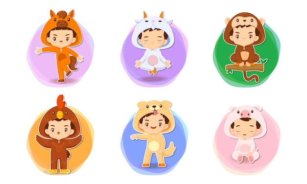 Set of cute cartoon character in chinese zodiac concept illustration Premium Vector