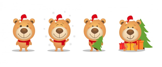 Set of cute cartoon christmas teddy bear. Premium Vector