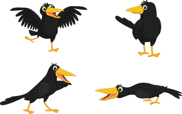 Set of cute cartoon crow Premium Vector