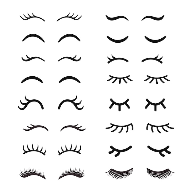 Set of cute cartoon eyelashes. open and closed hand drawing eyes. Premium Vector
