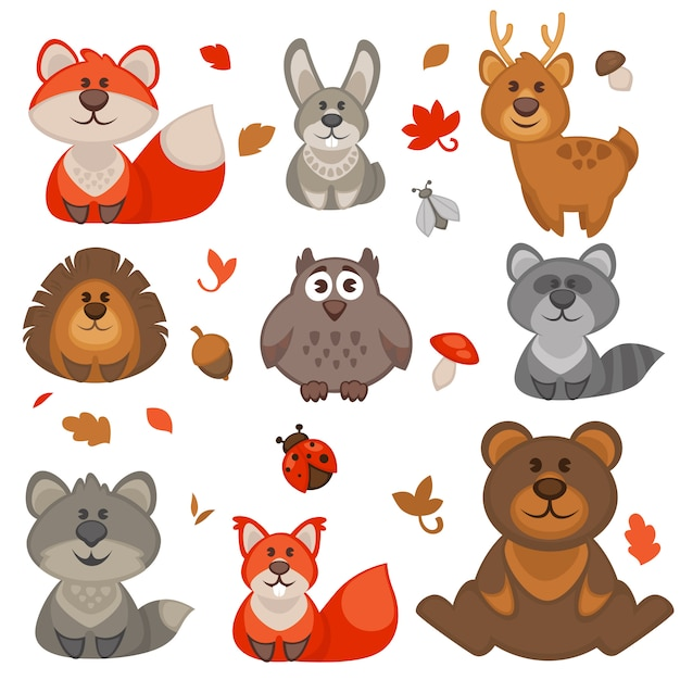 Set of cute cartoon forest animals. Premium Vector