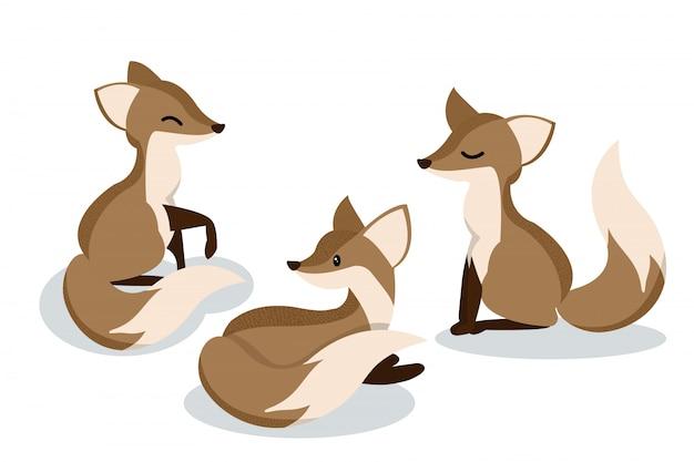 Set of cute cartoon foxes. Premium Vector