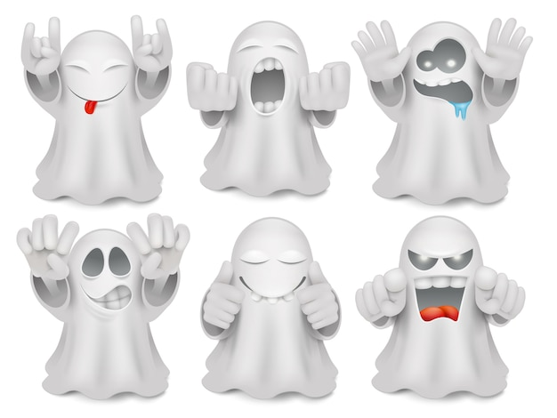Set of cute cartoon ghost emoticon characters. Premium Vector