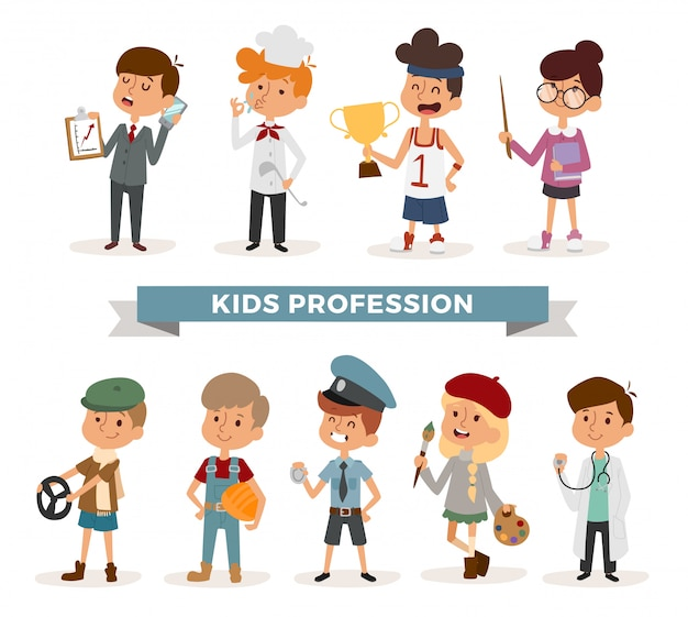 Set of cute cartoon professions kids Premium Vector