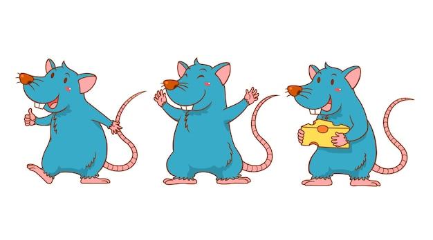 Set of cute cartoon rats in different poses. Premium Vector