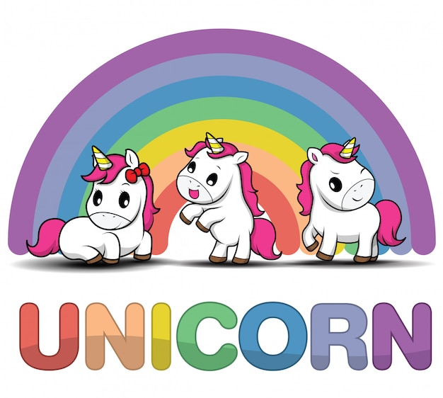 Set cute cartoon smiling unicorn on a white background with stars and dots Premium Vector