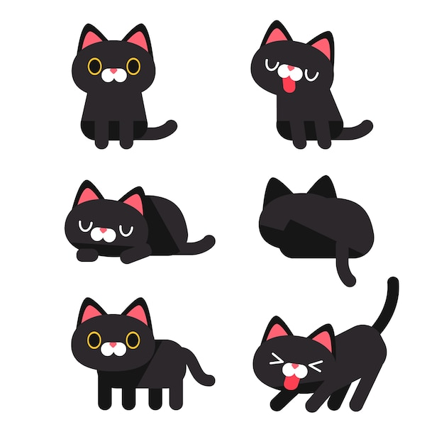 Set Of Cute Cat Characters In Different Action Poses
