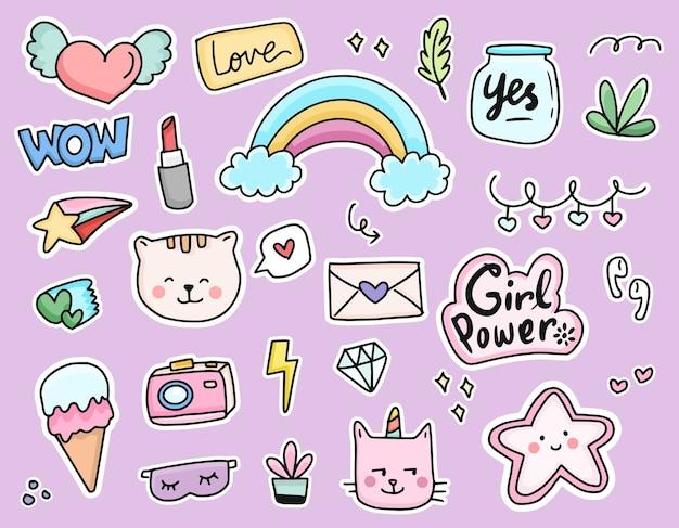 Set of cute cat sticker cartoon doodle drawing set collection Premium Vector