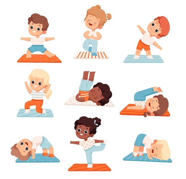 Set of cute cheerful kids doing yoga and aerobics at school or yoga class Premium Vector