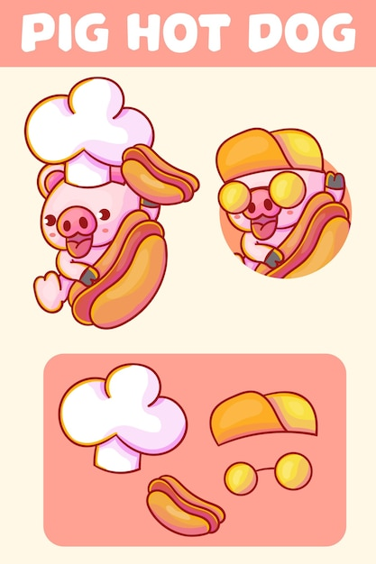 Set of cute chef pig with hot dog mascot logo with optional appearance. Premium Vector