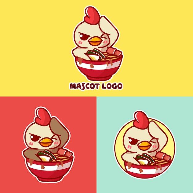 Set of cute chicken ramen mascot logo with optional apprearance. Premium Vector