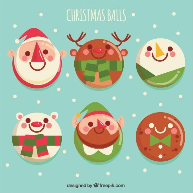 Set of cute christmas balls characters Free Vector
