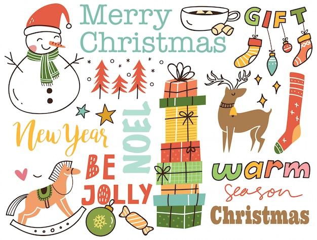 Set of cute christmas doodle background Premium Vector