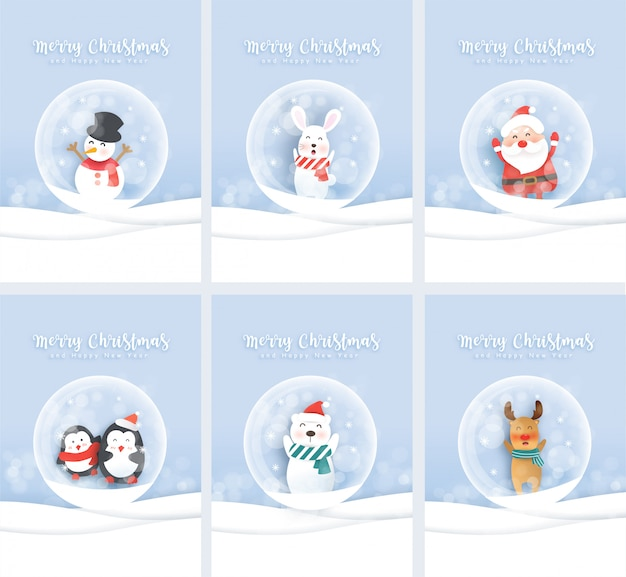 Set of cute christmas greeting cards with santa and cute animals in paper cut and craft style. Premium Vector