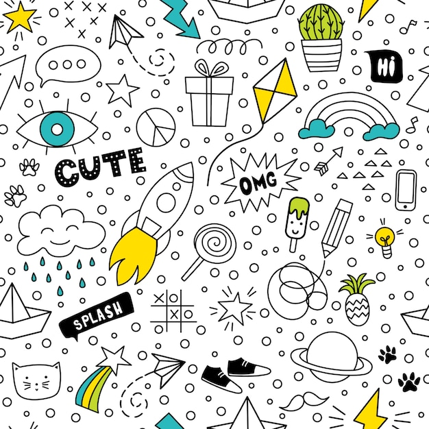 Set of cute and colorful doodle hand drawing Premium Vector