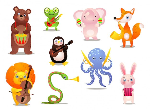 Set of cute colorful musician animals with different instrument Premium Vector