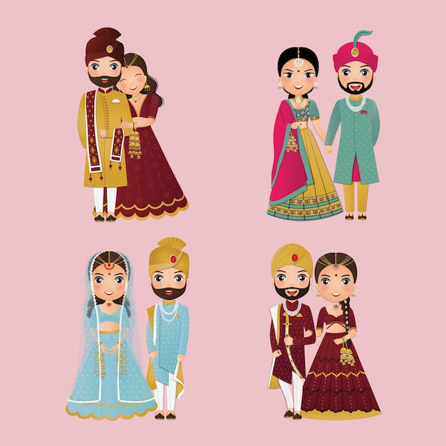 Set of cute couple in traditional indian dress cartoon characters bride and groom.wedding invitations card. Premium Vector