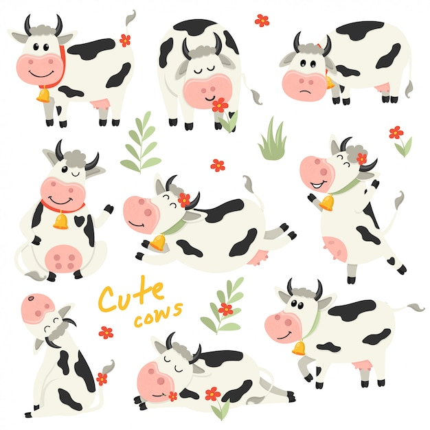 Set of cute cows character in various positions Premium Vector