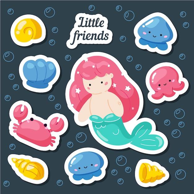 Set of cute creative card templates with mermaid theme design Premium Vector