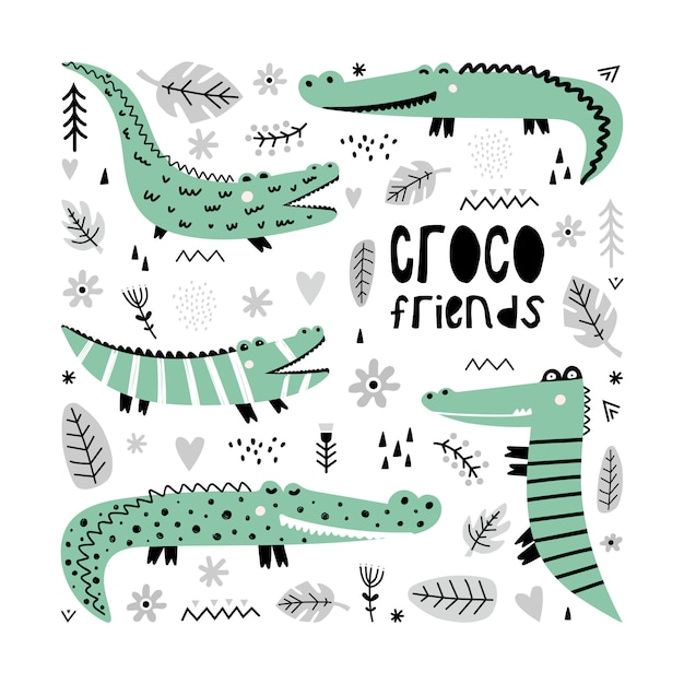A set of cute crocodiles Premium Vector