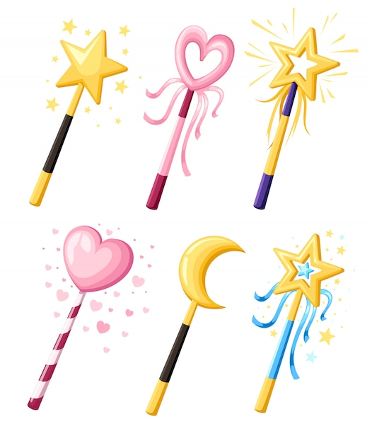 Set of cute decorative magic wands in various shapes. magical girl cartoon power concept.  illustration  on white background. web site page and mobile app Premium Vector