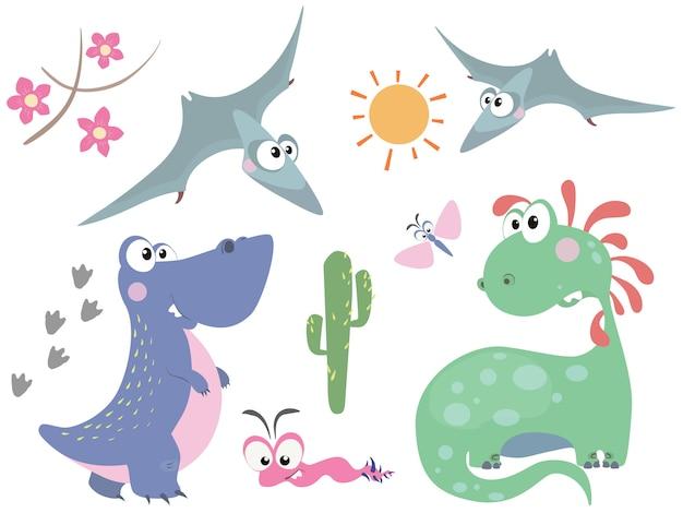 Set of cute dinosaurs in cartoon style Premium Vector
