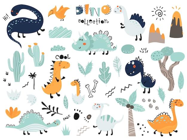Set of cute dinosauts, foliage, volcano, cactus Premium Vector