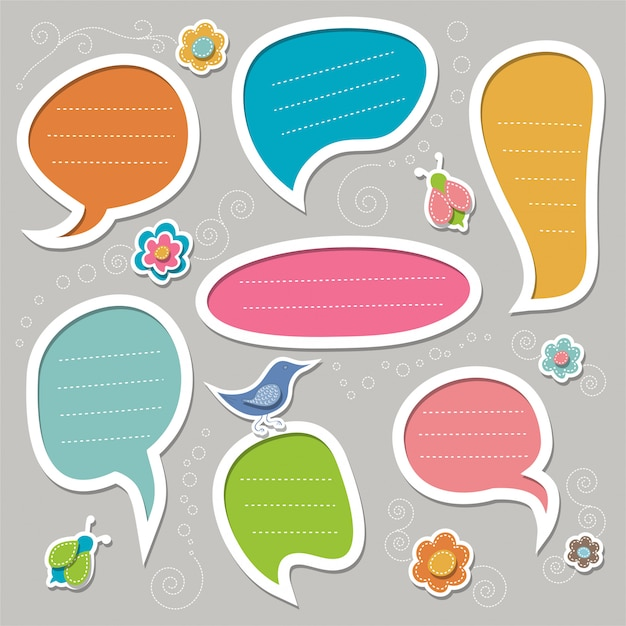 Set of cute doddle text frames. hand-drawn speech bubbles. Premium Vector