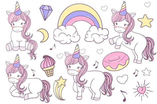 A set of cute doodle unicorn illustration hand drawn Free Vector